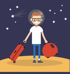 mars colonization young teenage character moving vector image