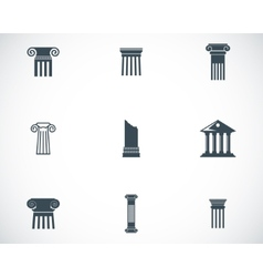 Black column icons set vector