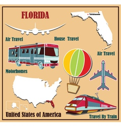 Flat map of florida vector