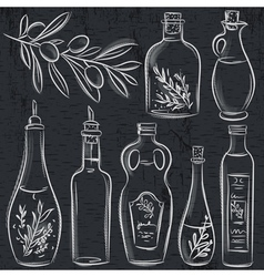 Set of bottle for olive oil on blackboard vector