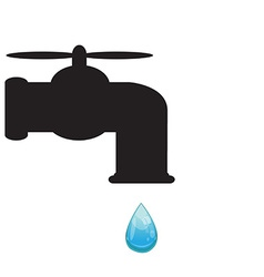 Tap with water drop vector