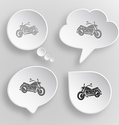 Motorcycle white flat buttons on gray background vector