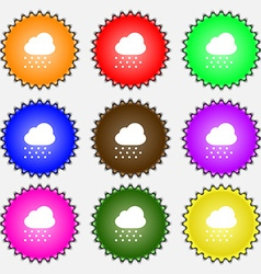 Snowing icon sign a set of nine different colored vector