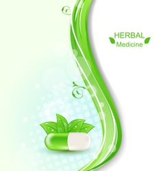 Pill and green leaves vector