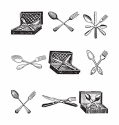 Silverware sets vector