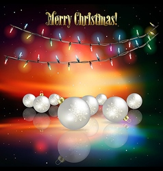 Abstract sunrise background with christmas lights vector