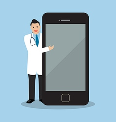 Doctor pointing to the screen of a smartphone vector image