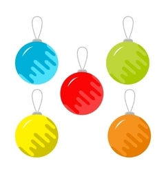 Set of five christmas balls white background vector