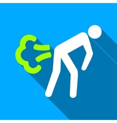 Fart person flat long shadow square icon vector