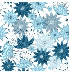 Seamless white-blue floral pattern vector