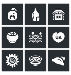 Set of ukraine icons kazak vodka village vector