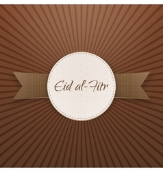 Eid al-fitr realistic decorative badge with ribbon vector