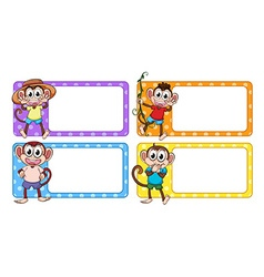 Labels with happy monkeys vector image