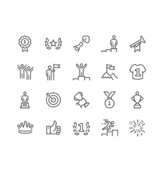 Line Winning Icons vector image