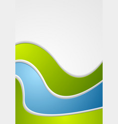 abstract green blue wavy art background vector image vector image