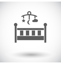 Baby bed flat icon vector