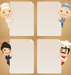 Chefs looking at blank posters set vector