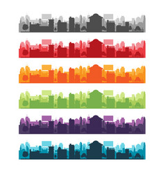Cities silhouette landscape color set vector