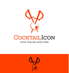 Cocktail swords piercing an olive logo vector