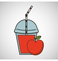 Delicious juice apple fruit and cup cover straw vector