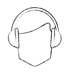 Faceless man wearing headphones icon image vector