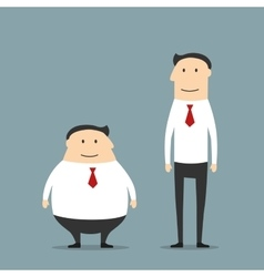 Fat and skinny smiling businessmen vector