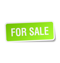 For sale green square sticker on white background vector