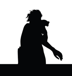girl and parrot silhouette vector image vector image