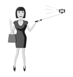 Girl with selfie stick icon gray monochrome style vector