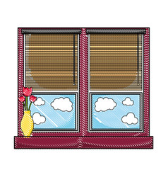 Grated window with blind curtain and fower inside vector