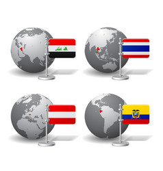 gray earth globes with designation of iraq vector image vector image