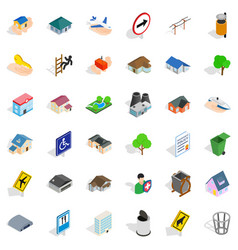 Green park icons set isometric style vector