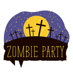 Halloween lettering with crosses on cemetery vector