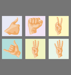 hands deaf-mute different gestures human layout vector image vector image