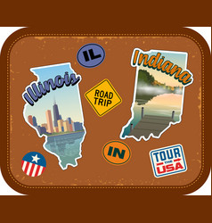 illinois and indiana travel stickers vector image vector image