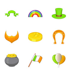 Irish icons set cartoon style vector