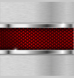 metal brushed elements with red perforation vector image vector image