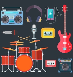 Musical instruments flat design vector