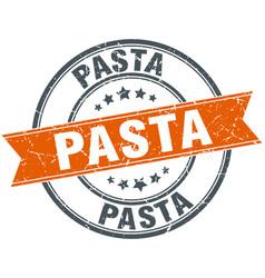 Pasta round orange grungy vintage isolated stamp vector