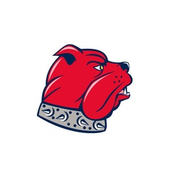 Red bulldog head isolated cartoon vector