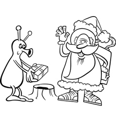 Santa claus and alien coloring page vector