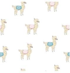 seamless alpaca pattern hand drawn scandinavian vector image