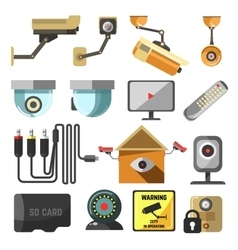 Security and surveillance elements collection vector