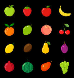 set of fruits in different style line flat vector image vector image