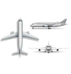 silver realistic airplane mock up isolated vector image