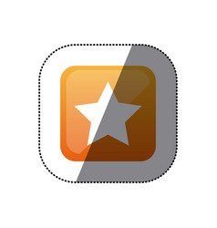 Sticker color square emblem with star icon vector