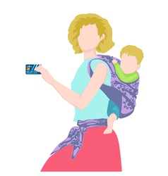 The young woman holding a credit card vector