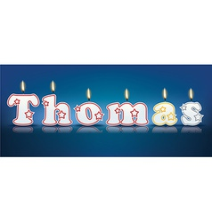 Thomas written with burning candles vector
