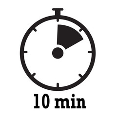 Timer icon 10 minutes stopwatch symbol flat icon vector