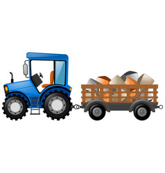 Tractor and wagon loaded with rocks vector